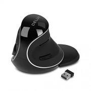 DeLUX mouse vertical ergonómico, con cable óptico con iluminación RGB, 6 botones, reposamuñecas extraíble, 5 DPI ajustable (800-1200-1600-2400-4000 DPI) para computadora portátil (M618Plus RGB-Black), 2.4G wireless, Large mouse