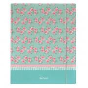 Dosar mapa din carton, A4, XL, inchidere cu elastic, HERLITZ Ladylike Roses