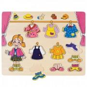 Puzzle din lemn - Imbraca fetita - Bino