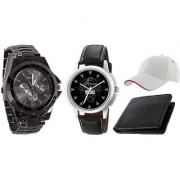 Jack Klein Combo of Round Dial Black Strap Stylish Analog Wrist Watches With Black Wallet And Cap