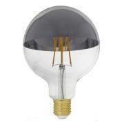 Silamp Ampoule E27 LED Filament Dimmable 8W G125 Globe Reflect Argent - couleur eclairage : Blanc Chaud 2300K - 3500K