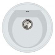 Chiuveta bucatarie rotunda granit CookingAid Naiky NK5110 Alba Polar White + accesorii montaj