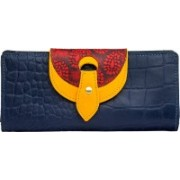 Holii Women Casual Blue Genuine Leather Wallet(1 Card Slot)