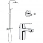 Pachet: Coloana dus Grohe New Tempesta 210-27922001, Baterie lavoar Grohe Eurosmart Cosmo S-32825000, Agăţătoare Grohe BauCosmopolitan-40461001