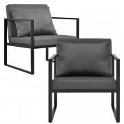 [casa.pro]® 2 x Kerti fotel szék 70 x 60 x 60 cm kerti bútor kültéri 2 darabos szett fekete