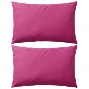 vidaXL Almofadas para exterior 2 pcs 60x40 cm rosa