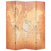 vidaXL Сгъваем параван за стая, 160x170 см, карта на света, жълт