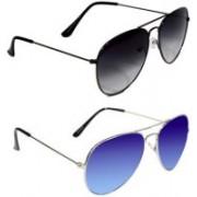 LEZTO Aviator Sunglasses(Black, Blue)