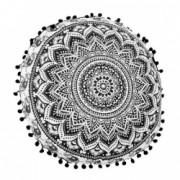 Perna decorativa rotunda diametru 45 cm negru cu alb Topi Dreams
