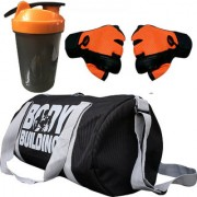 CP Bigbasket Combo Set Polyester 40 Ltrs Black Sport Gym Duffle Bag Gym Shaker (400 ml) Netted Gym Fitness Gloves (O