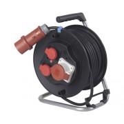 Prelungitor trifazic pe tambur de plastic 3 prize (2 CP + 1 trifazata) 20m cablu cauciuc 5x2,5 mm², pentru exterior IP44