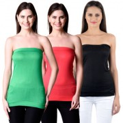 NumBrave Womens Green Red Black Tube Top (Combo of 3)