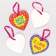 Baker Ross Ceramic Hearts - 5 Hanging Ceramic Heart Decorations. Comes with hanging ribbon. Size 8cm.