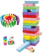 FunBlast® Wooden Tumbling Tower, 48 Pieces Wooden Colorful Toys with Dices, Colored Building Blocks, Color Stacking Toy Kids