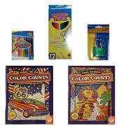 Color Counts Travel/Travel the USA Coloring Books/Crayons/Colored Pencils/5-pc Bundle