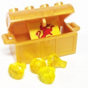 Lego Parts: Treasure Chest/Jewel Pack Bundle (4) 24 Facet Yellow Jewels (1) Pearl Gold Treasure Chest (1) Coat of Arms Tile