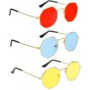 Elgator Retro Square Sunglasses(Red, Blue, Yellow)