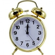 Vintage Golden 4.5 INCH Display Metal Twin Bell Alarm Table Clock With Light