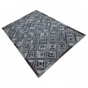 Dielenteppich in Grau gemustert Webstoff und Leder