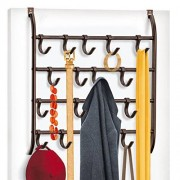 Lynk Over Door Hook Organizer with 16 Adjustable Hooks Organize Scarves, Belts, Jewelry & Accessories -Hang Over Doors or Wall Mount in Your Closet, Bedroom, Bath, Mudroom & Laundry Rooms Bronze