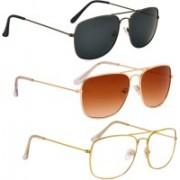 Phenomenal Aviator Sunglasses(Black, Brown, Clear)