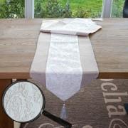 Tischläufer Glitzer, Tischdecke Tischdeko Mitteldecke, beige Glanz-Effekt 180x33cm ~ Variantenangebot