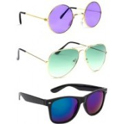 Elligator Round, Aviator, Wayfarer Sunglasses(Violet, Green, Blue)