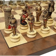 "Medieval Times Warrior Knights Gold & Silver Chess Set W/ 17"" Walnut & Maple Wood Veneer Board"