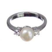 Inel din argint cu perle de cultură, mărime 8