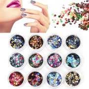 12 Colors/Set Colorful Nail Art Glitter Sequins Candy Color Round DIY Decoration
