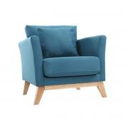 Miliboo Sessel skandinavisch Blaugrün und Füße aus hellem Holz OSLO