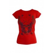 Tricou - UNIVERS FASHION - rosu cu desen craniu 3D - S-M