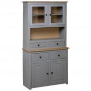 vidaXL Висок шкаф, сив, 93x40,5x180 см, бор масив, Panama Range