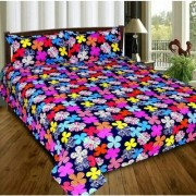 Craftwell 3d Bedsheet with 2 Pillow cover (multi color flowers)
