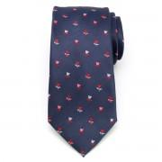 Cravată bărbătească clasică albastru închis cu model floral (model 1303) 8458