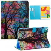 Pattern Printing Leather Wallet Stand Tablet Case for iPad 10.2 (2019) - Colorful Tree