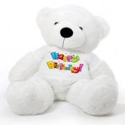 White 5 feet Big Teddy Bear wearing a Happy Birthday T-shirt