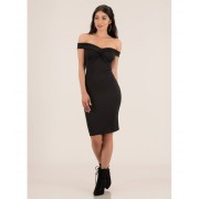 CheapChic Twist Of Fate Off-shoulder Midi Dress Black