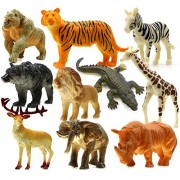 UGGL Animals Figure, 5 Inch Jungle Animals Toys Set, 10 Pieces Plastic Animals Action Figure Toys Set, Forest Animals Toys Playset, Realistic Wild Animal, Eduactional Toys For Kids Toddler