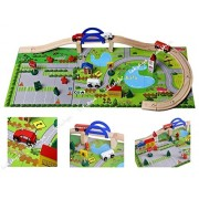 Lakshya-Wooden Car Track Set with 8 Pcs. Cardboard Puzzle Based On City Traffic|1 Bus + 2Cars+ 1Ambulance|Rail Overpass|Best Die Model Game for Kids