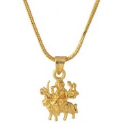 Dare by Voylla Gold Plated Goddess Durga Pendant With Chain For Men