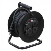 Solight prodlužovací přívod na bubnu, venkovní, 4 zásuvky, černý, 25m PB33