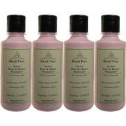 Khadi Pure Herbal Rose Honey Moisturizer with Sheabutter Paraben Free - 210ml (Set of 4)
