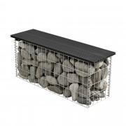 PremiumXL - [pro.tec] WPC Gabion klupa - žičana mreža-dekoracija (crna, 100x30x45cm)