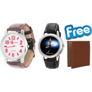 Buy Combo of 2 Graphic Analog Wrist Watches and Get Wallet free