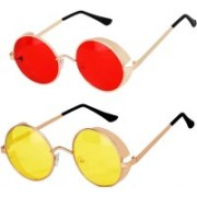 Rich Club Round Sunglasses(Red, Yellow)