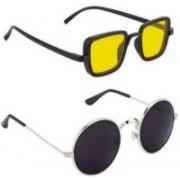 Magjons Retro Square, Round Sunglasses(Yellow, Black)