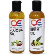 OSE (Combo Pack Of 2) 100 Percent Pure Organic Cold Pressed Unrefined Virgin Jojoba Oil Neem Oil For Hair-Scalp-Skin