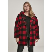 Ladies Hooded Oversized Check Sherpa Jacket firered/blk XXL