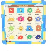 SHRIBOSSJI Wooden Geometric Shapes Puzzle For Kids With Snakes And Ladders Game (Tokens And Dice) Board Game